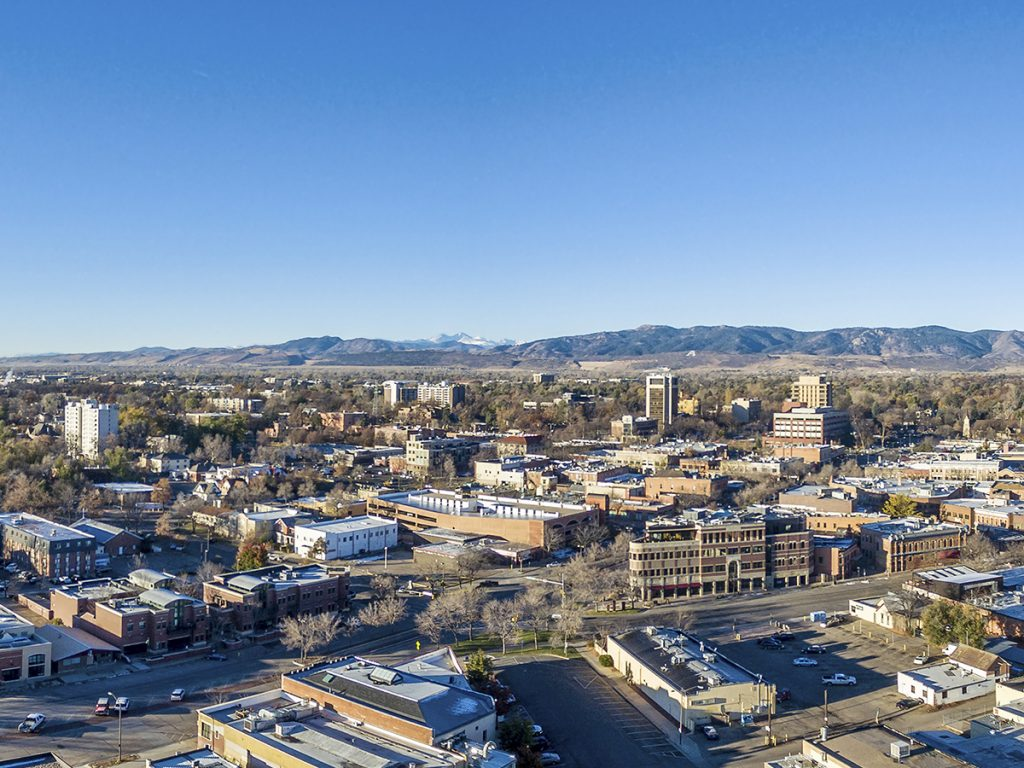 aerial shot of downtown Fort Collins